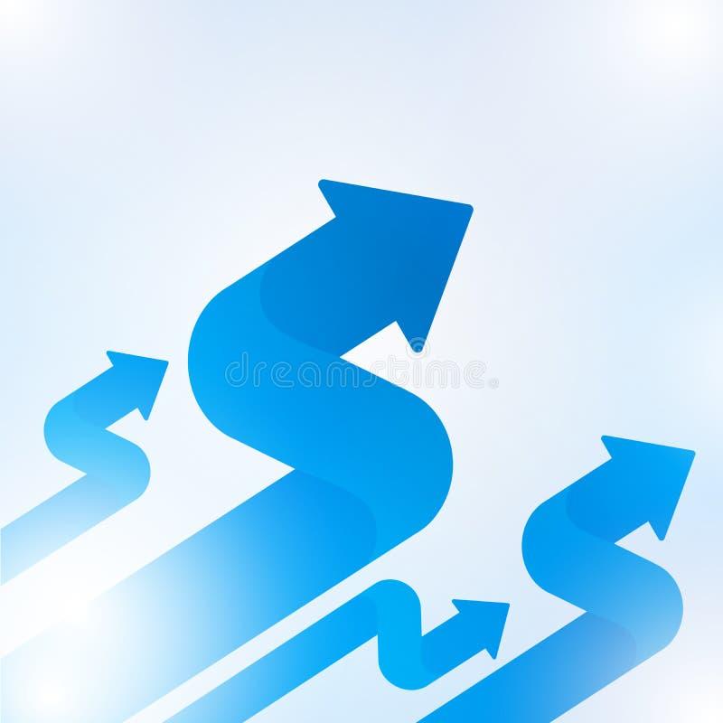 De abstracte blauwe groei van het pijlteken aan technologieachtergrond vector illustratie