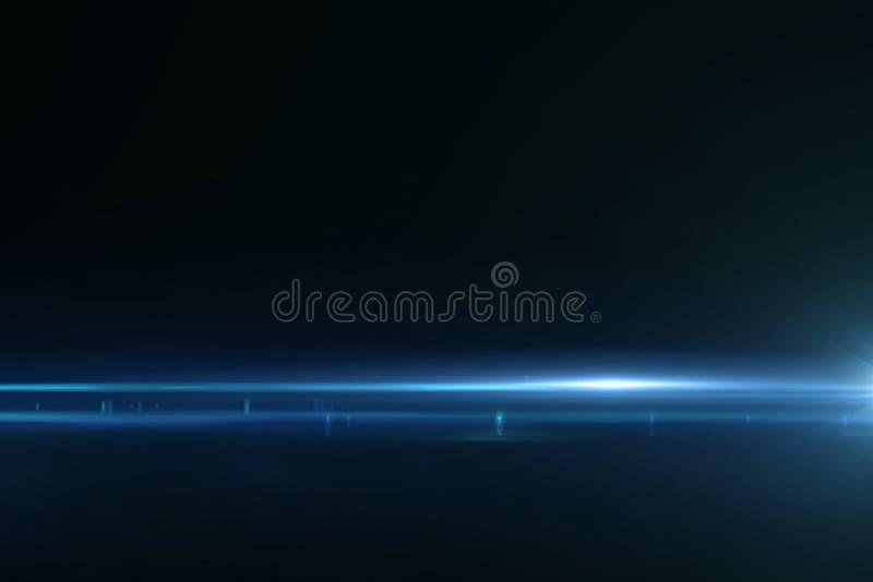 De abstracte blauwe lichte impulsen en de gloed lekken motieachtergrond, met de beweging van defocus horizontale lijnen stock illustratie