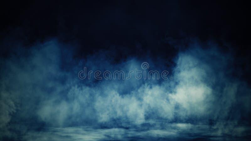 De abstracte blauwe mist van de rookmist op een zwarte achtergrond Textuur Het element van het ontwerp vector illustratie
