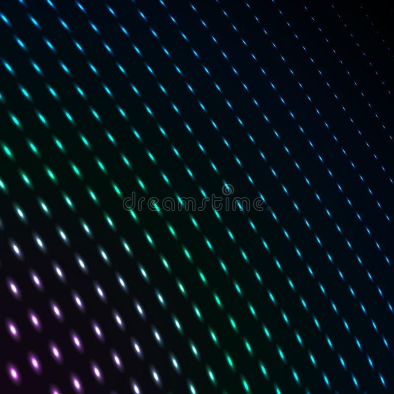De abstracte blauwe punten van het kleurenneon, gestippelde technologieachtergrond De gloeiende deeltjes, leidden licht patroon,  stock illustratie