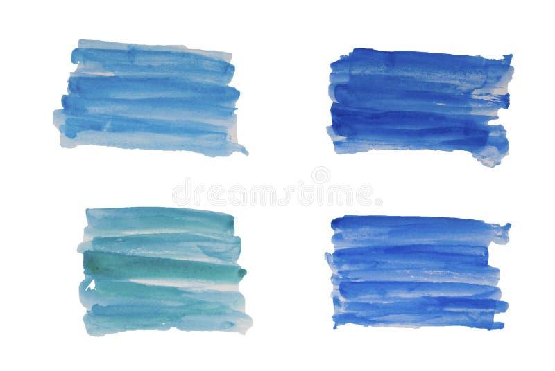 De abstracte blauwe reeks van waterverfhand trekt verfborstel strijkt Geïsoleerde ilustration stock afbeeldingen