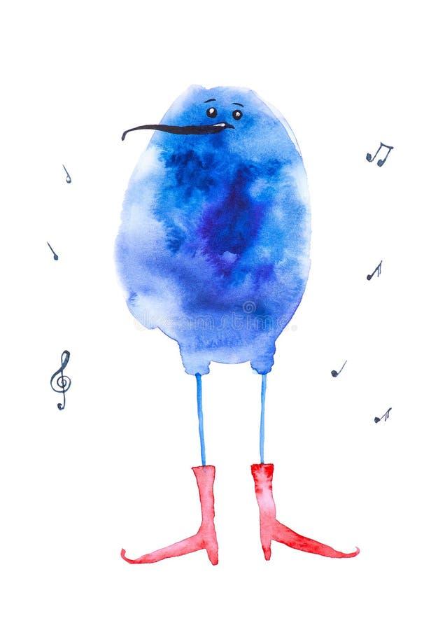 De abstracte blauwe vogel in rode laarzen zingt een lied Grappige die waterverfillustratie op witte achtergrond wordt geïsoleerd vector illustratie