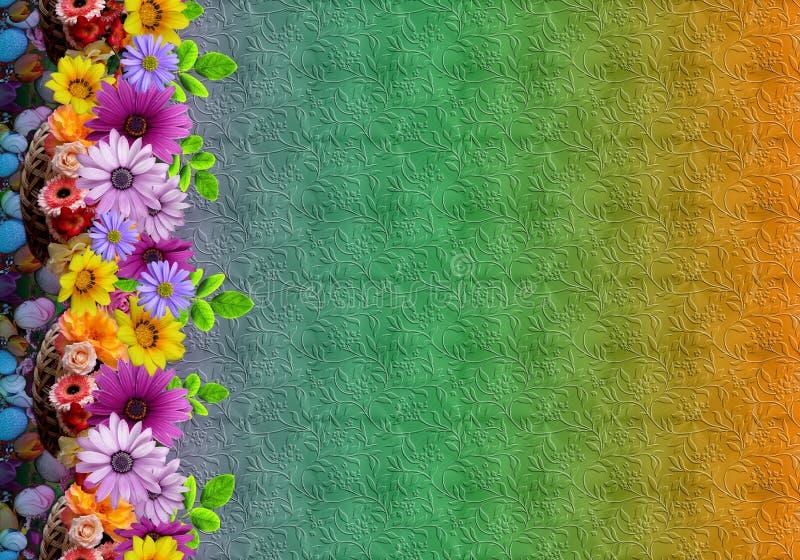 De abstracte bloemen digitale kleurrijke achtergrond van het bloempatroon stock illustratie