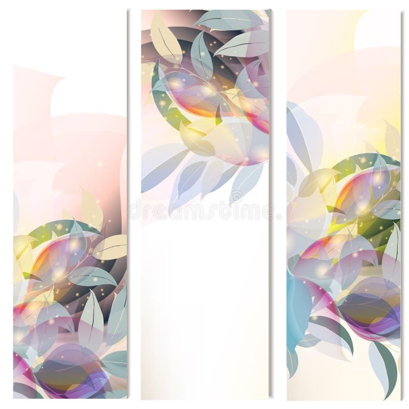 De abstracte bloemen verticale geplaatste brochures doorbladert vector illustratie