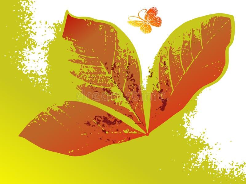 De abstracte bloemenachtergrond van Grunge met vlinder vector illustratie