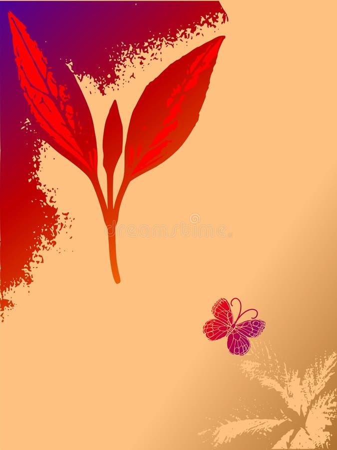 De abstracte bloemenachtergrond van Grunge met vlinder stock illustratie