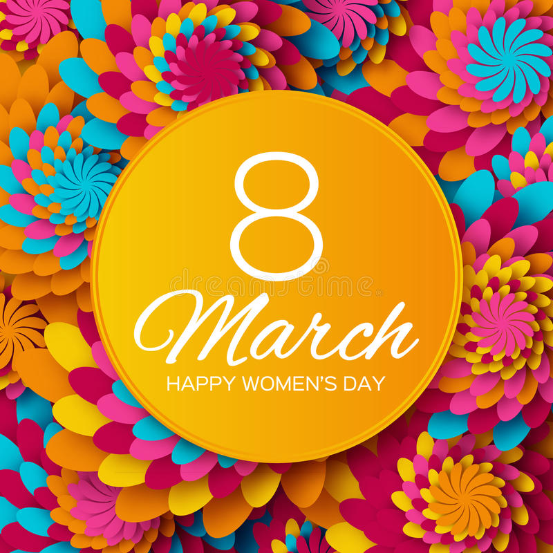 De abstracte Bloemengroetkaart - de Dag van Internationale Gelukkige Vrouwen - 8 Maart-vakantieachtergrond met document sneed Kad stock fotografie