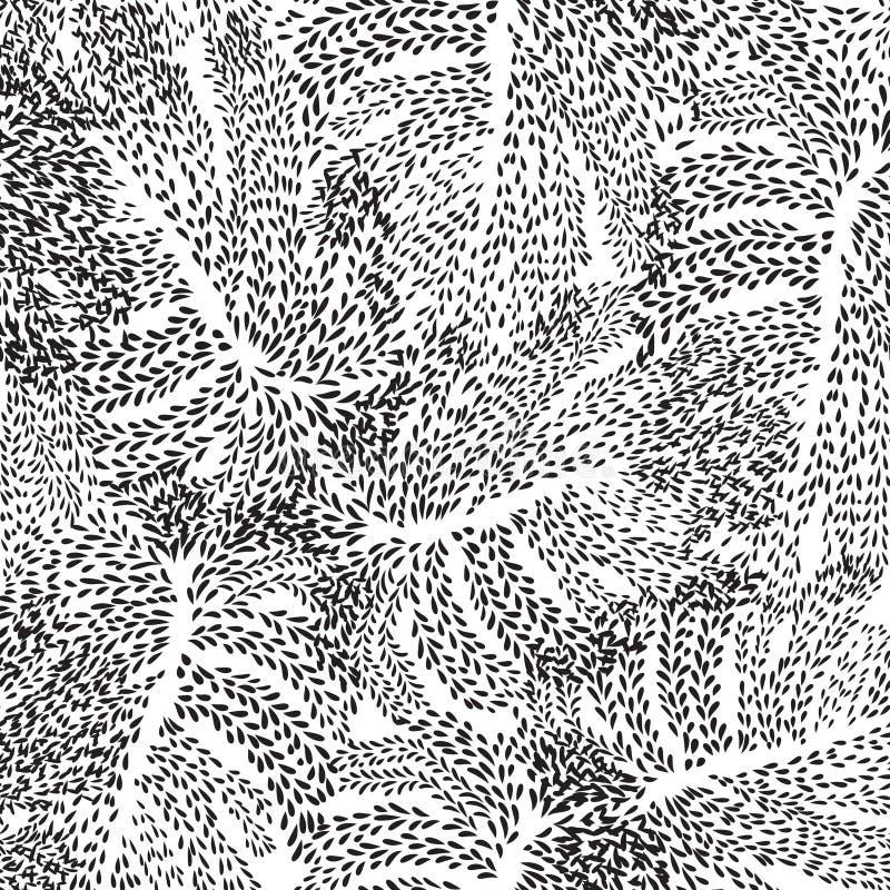 De abstracte bloemenpatroonbladeren wervelen geometrische naadloze textuur vector illustratie