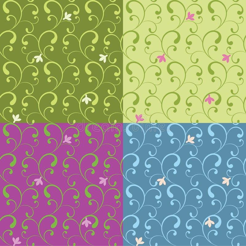 De abstracte bloemenreeks van het ornament naadloze patroon stock illustratie