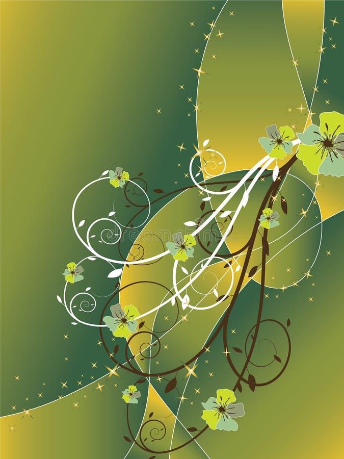 De abstracte bloemenwerveling schittert groen royalty-vrije illustratie