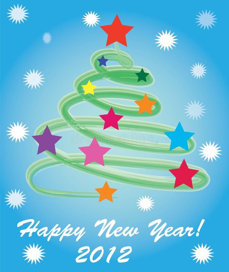 De abstracte boom van het Nieuwjaar van 2012. stock foto