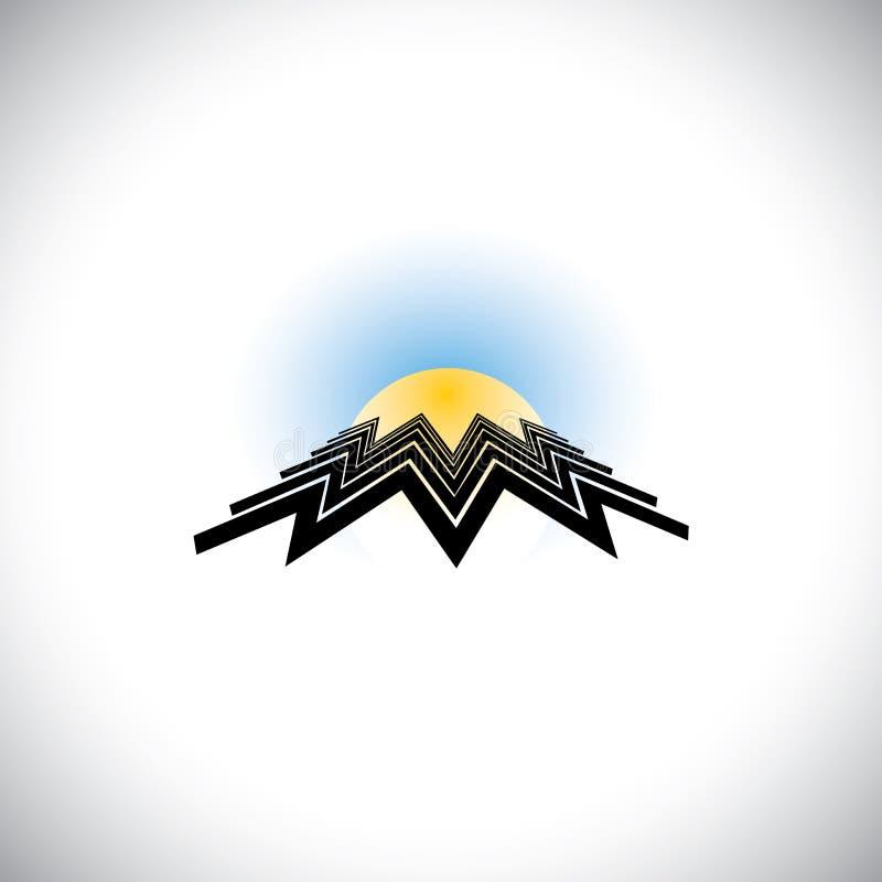 De abstracte bouw als zigzaglijnen met zon & hemel stock illustratie