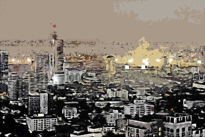 De abstracte bouw in hoofdstadwaterverf het schilderen stock afbeeldingen