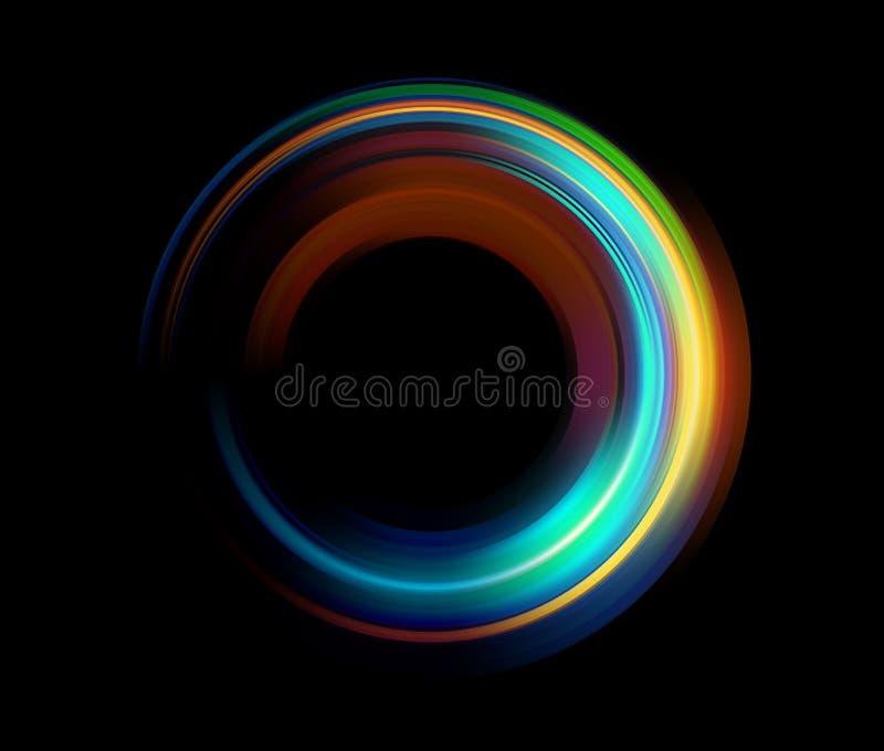 De abstracte bovenkant van de rings achter lichtgevende wervelende fonkeling stock illustratie
