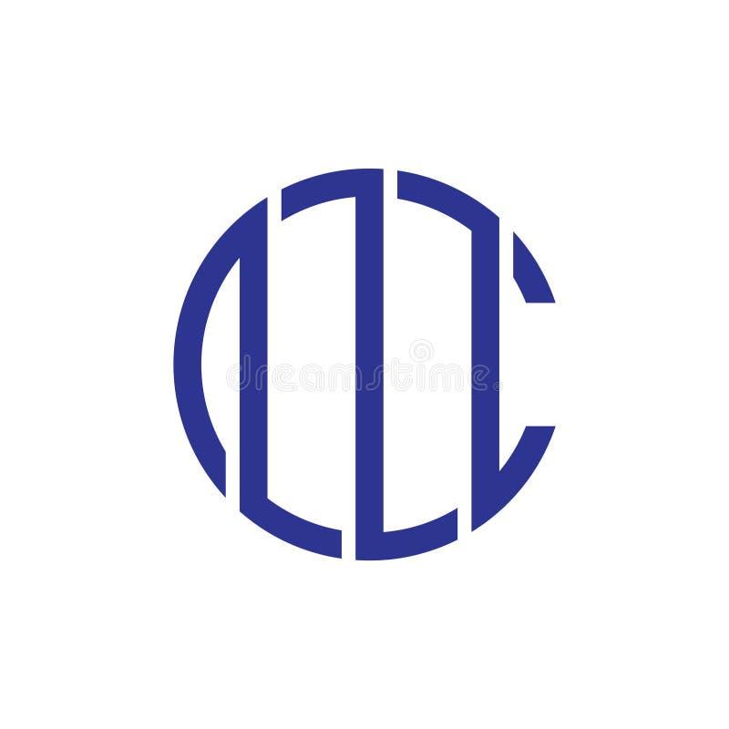 De abstracte brief cm omcirkelt de geometrische vector van het lijnembleem stock illustratie