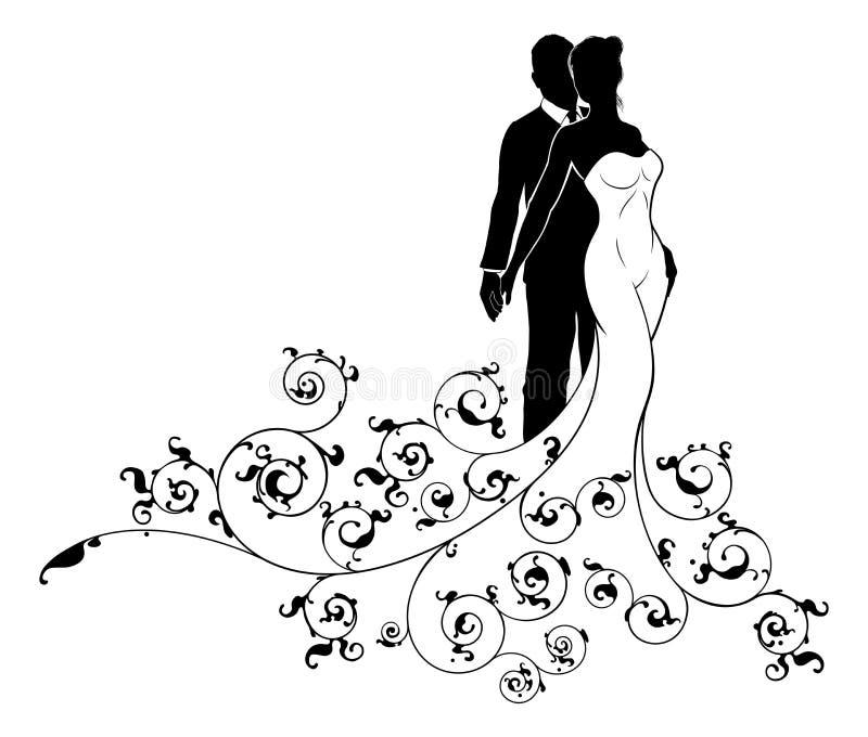 De abstracte Bruid en Bruidegom Silhouette van het Huwelijkspatroon stock illustratie