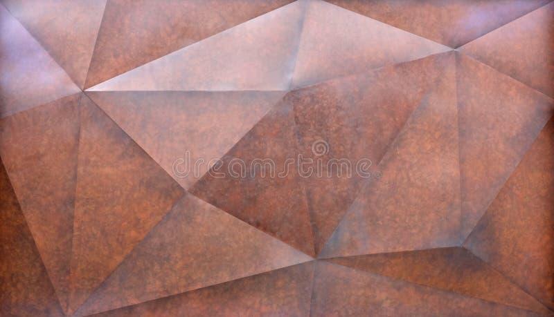 De abstracte bruine veelhoekige Geometrische Achtergrond van de Driehoeksmuur royalty-vrije stock foto's