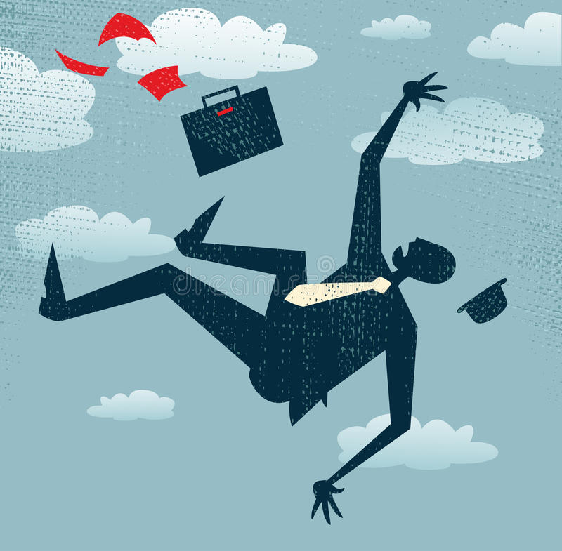 De abstracte Businessmans-carrière is in Vrije daling. royalty-vrije illustratie