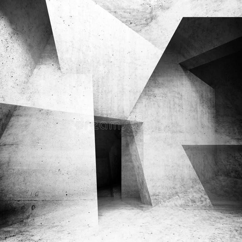 De abstracte concrete binnenlandse 3d achtergrond geeft terug royalty-vrije illustratie