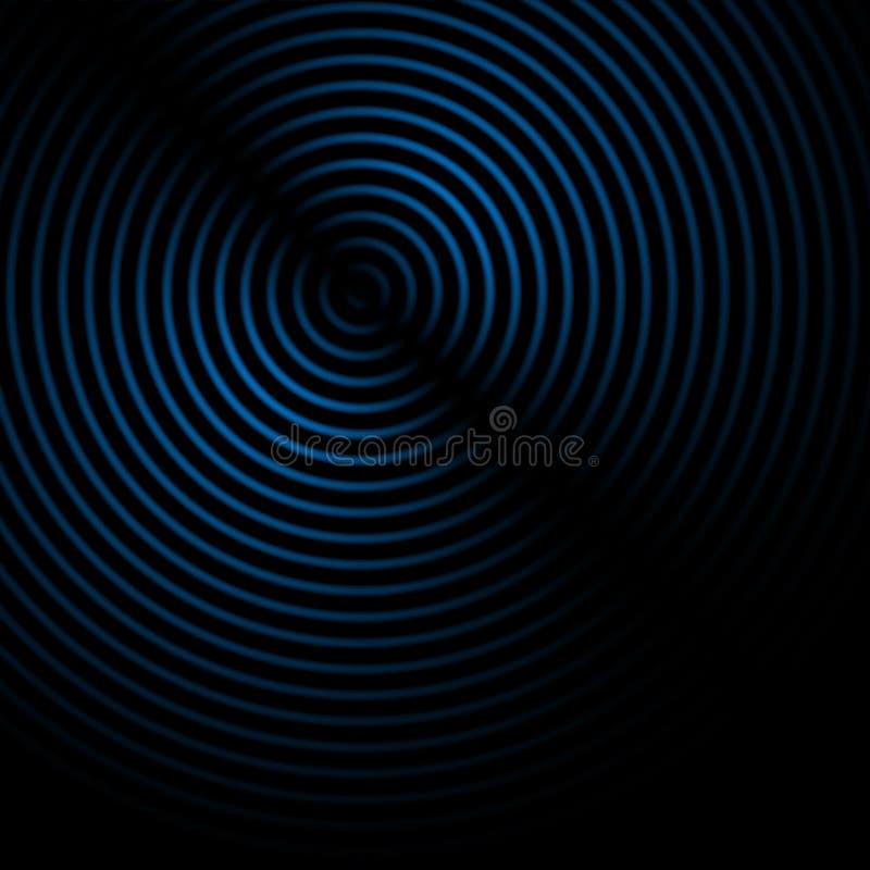 De abstracte correcte golven voeren blauwe kleur op zwarte achtergrond uit vector illustratie
