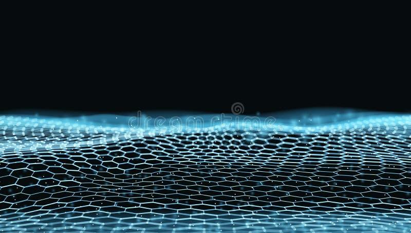 De abstracte 3D Futuristische Structuur van Dots And LinesTechno stock fotografie