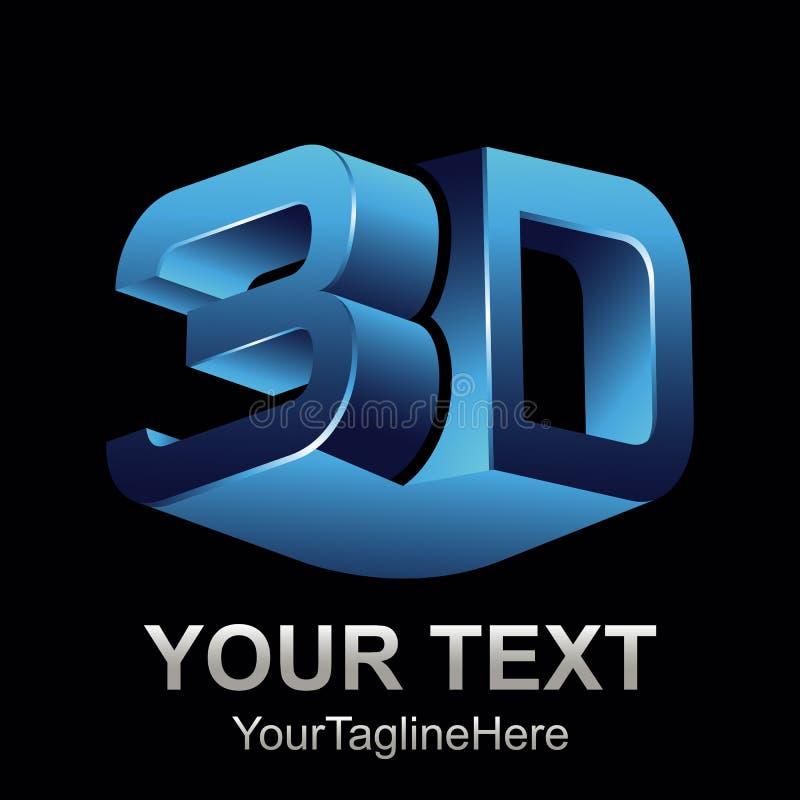De abstracte 3d illustratie van het het pictogramembleem van de tekstvorm vector 3d vorm die ontwerpvector teruggeven stock illustratie