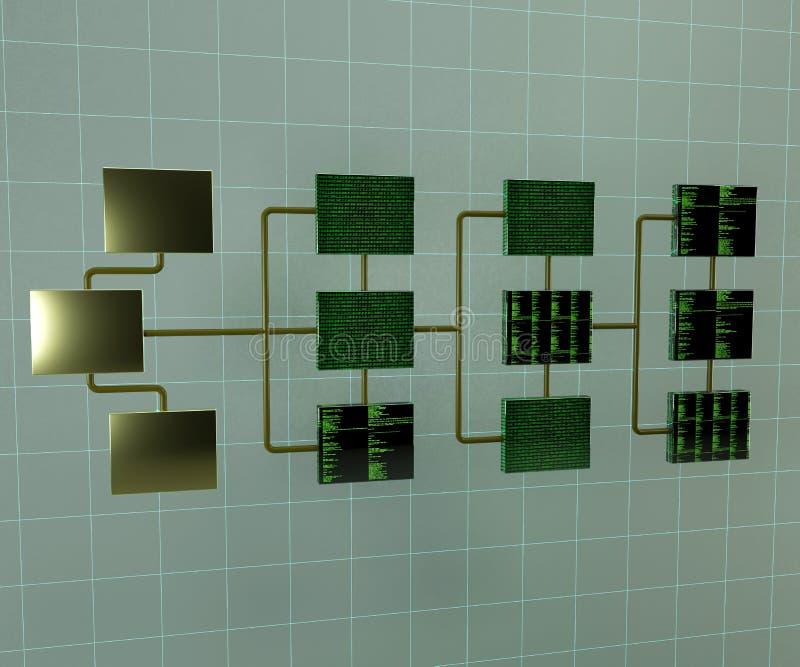 De abstracte 3d illustratie van het verbindingsnetwerk Structuur van netwerktopologie Gegevens - verwerking royalty-vrije illustratie