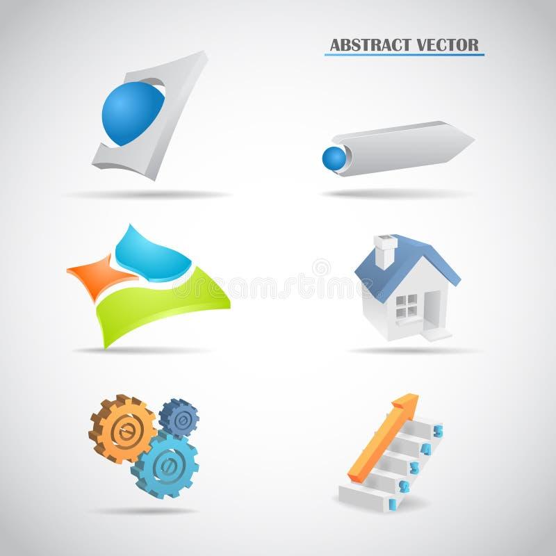 De abstracte 3d ladder van het huistoestellen van embleem vastgestelde pijlen stock illustratie