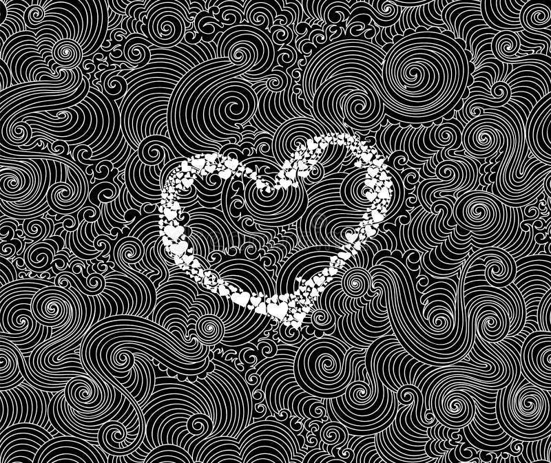De abstracte decoratieve vector naadloze achtergrond van Valentine met met de hand geschreven hart en mooie krullende lijnen stock illustratie