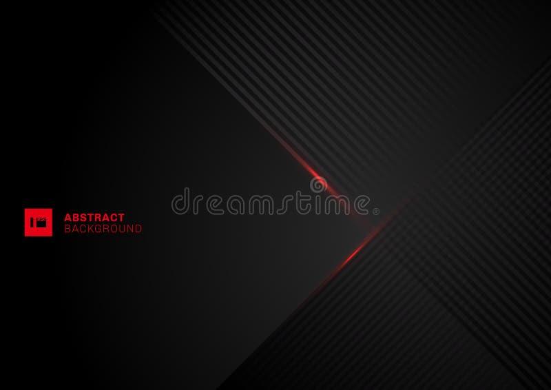 De abstracte diagonale overlapping van het lijnenpatroon met rode laserlijn op zwarte achtergrond royalty-vrije illustratie