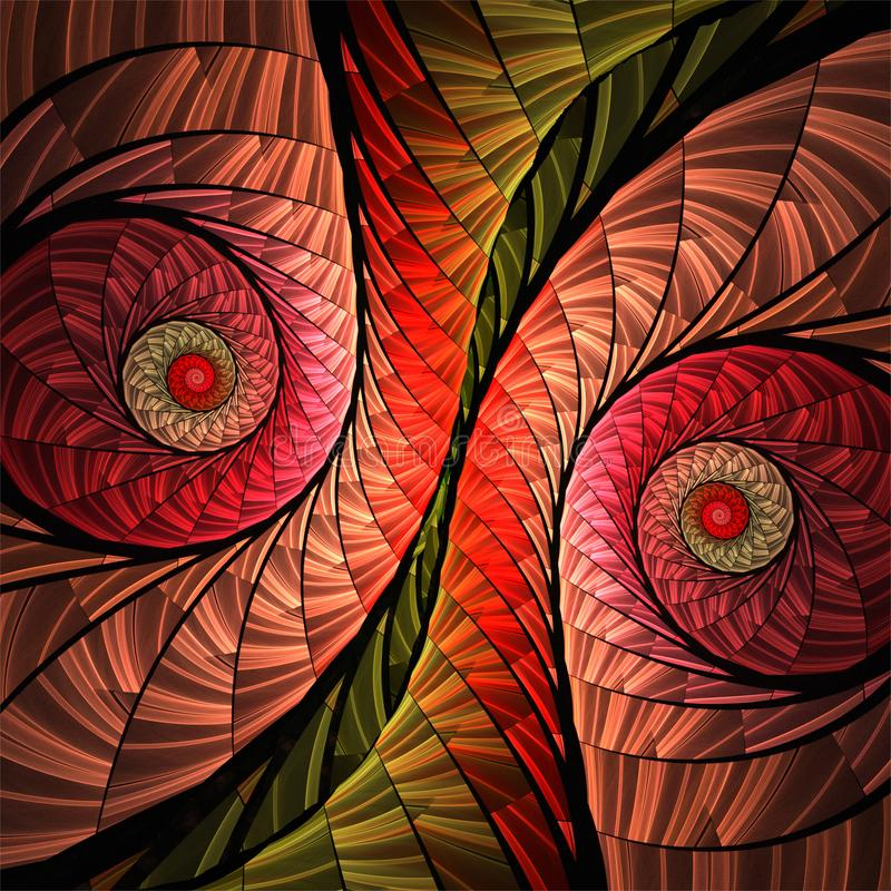 De abstracte digitale fractal rode spiralen van het kunst decoratieve mozaïek vector illustratie