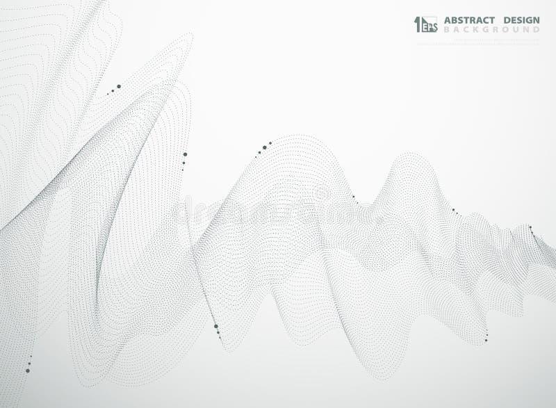 De abstracte donkerblauwe rassenbarrières stippelt het ontwerp van het golvend patroonelement van elementenachtergrond Illustrati vector illustratie