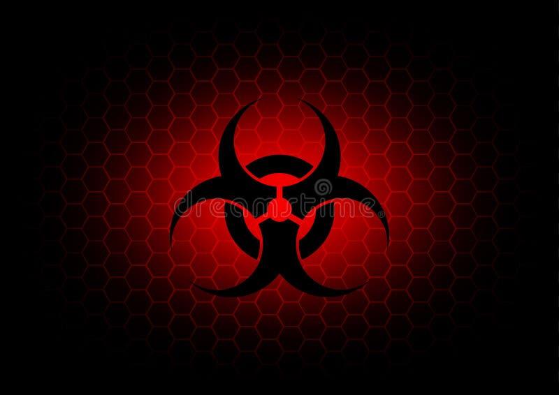 De abstracte donkerrode achtergrond van het biohazardsymbool vector illustratie