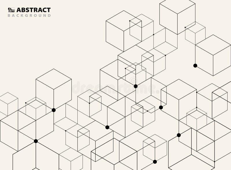 De abstracte eenvoudige zwarte geometrische achtergrond van het modelpatroonontwerp stock illustratie