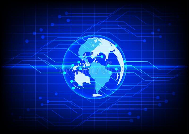 De abstracte elektronische blauwe achtergrond van de wereld digitale technologie stock illustratie