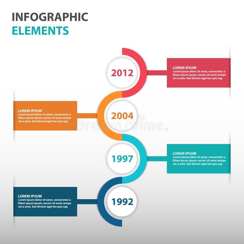 De abstracte elementen van Infographics cirkel van de bedrijfschronologiewegenkaart, vlakke het ontwerp vectorillustratie van het royalty-vrije illustratie