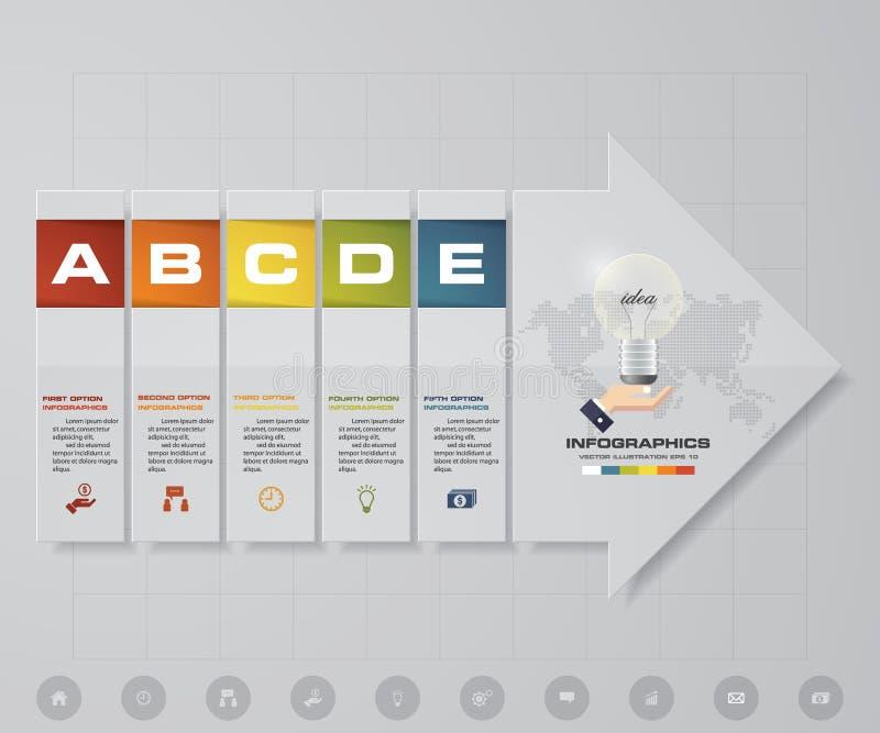 De abstracte 5 elementen van stappeninfographics met de elementen van de pijlvorm EPS10 stock illustratie