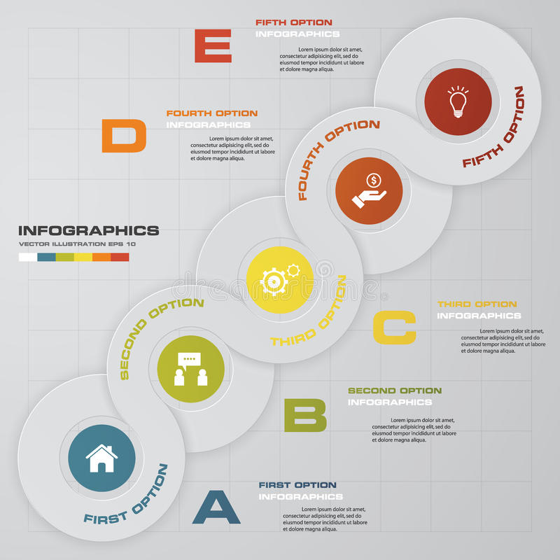 De abstracte 5 elementen van stappeninfographis Vector illustratie vector illustratie