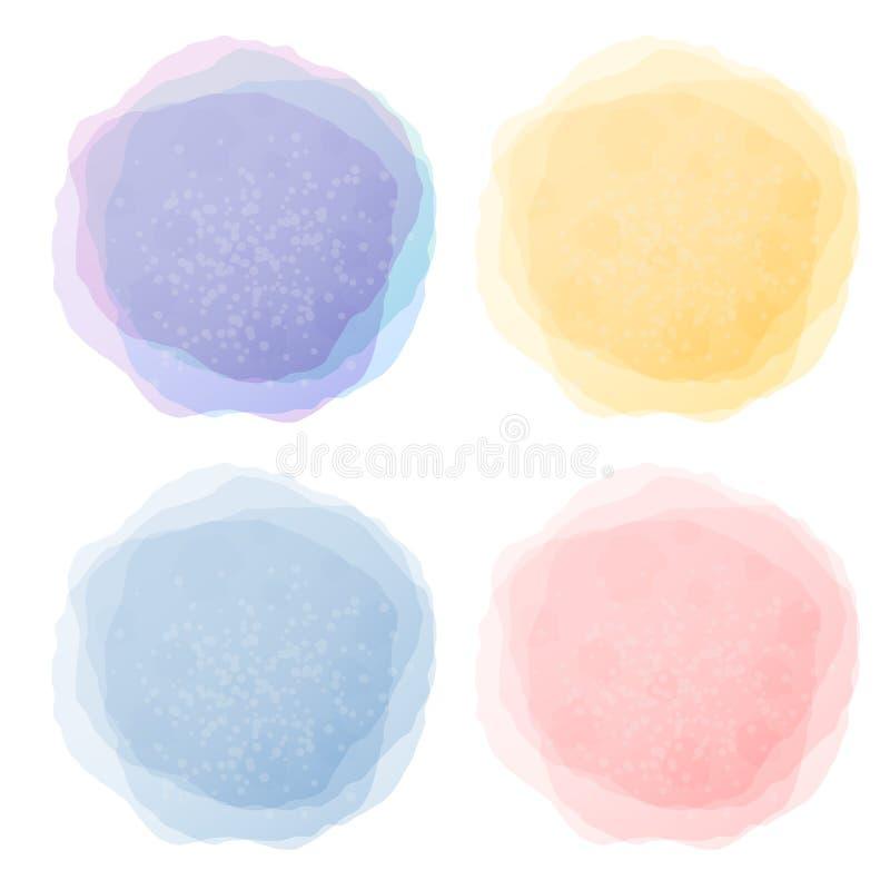 De abstracte etiketten van de pastelkleurwaterverf stock illustratie