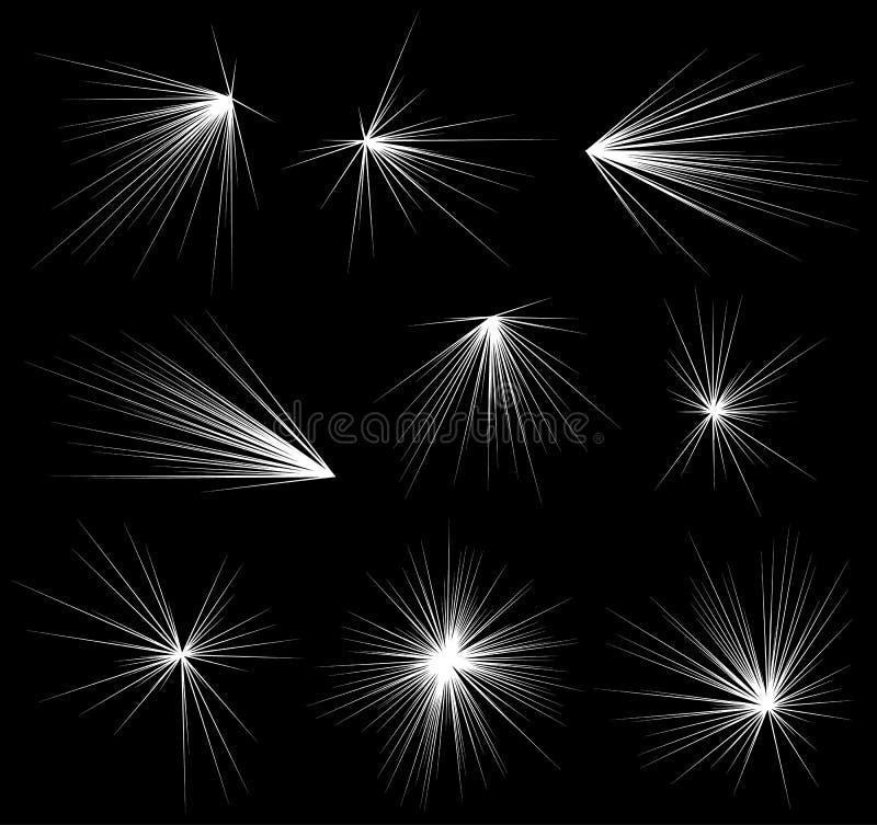 De abstracte explosie, uitbarsting, stralen, stralen, flits, schittert, vuurwerk royalty-vrije illustratie