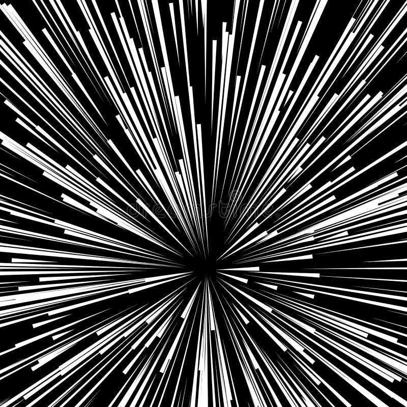 De abstracte explosie, uitbarsting, stralen, stralen, flits, schittert, vuurwerk vector illustratie