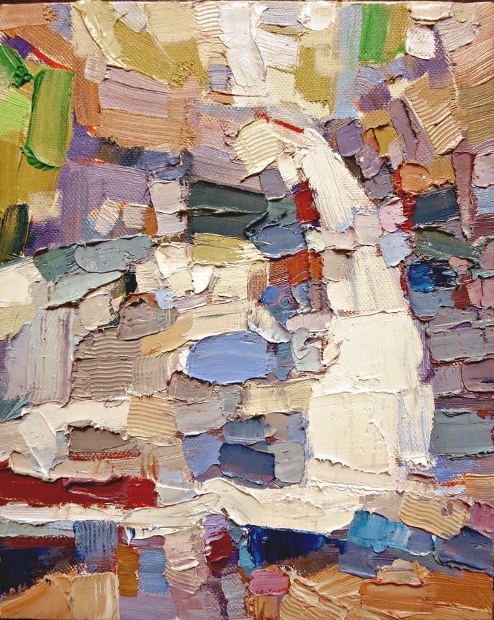 De abstracte expressionismetik kleurt acrylolieverfschilderij stock foto