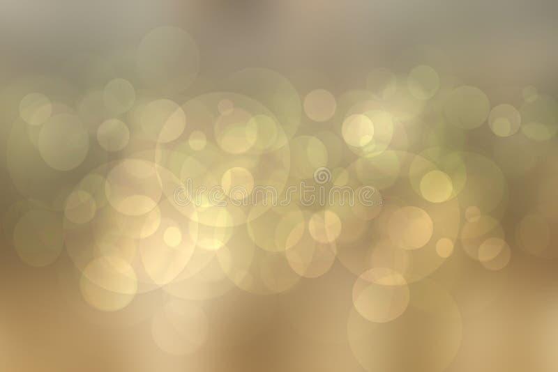 De abstracte feestelijke achtergrond van de onduidelijk beeld heldere bruine pastelkleur met bruine en groene bokehcirkels Malpla vector illustratie