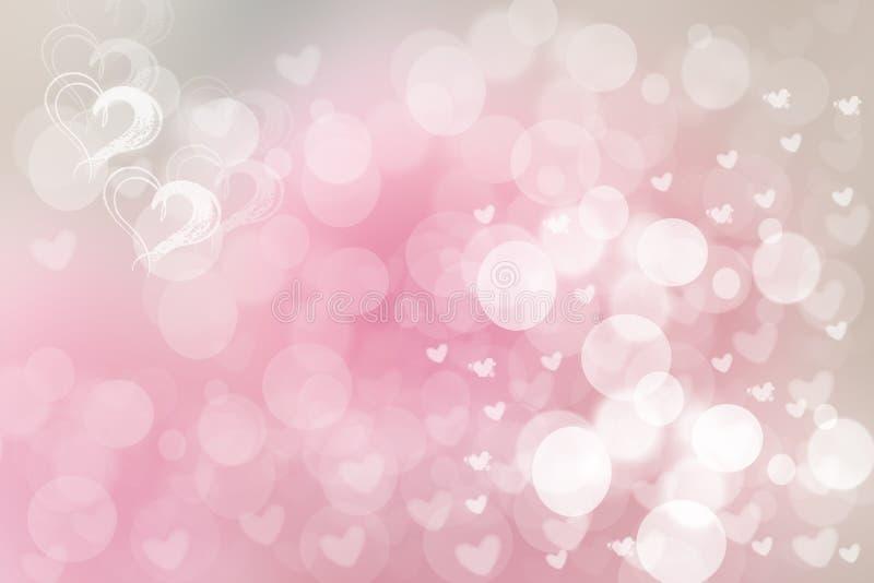 De abstracte feestelijke achtergrond van de onduidelijk beeld heldere roze pastelkleur met witte en roze harten houdt van bokeh v royalty-vrije illustratie