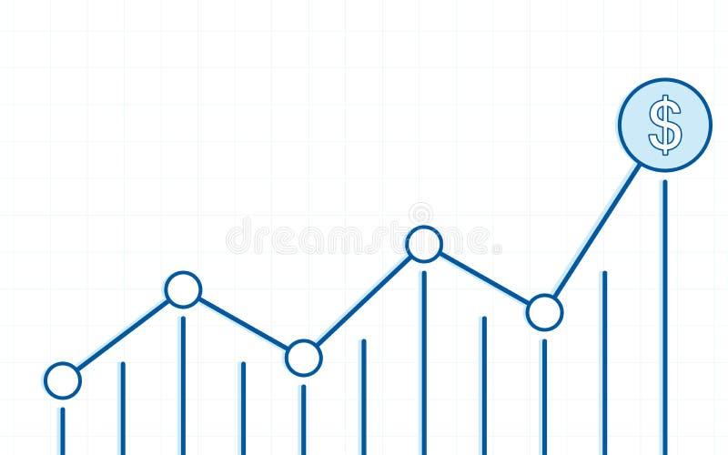 De abstracte financiële grafiek met uptrend lijngrafiek en de dollar ondertekenen in effectenbeurs op witte kleurenachtergrond vector illustratie
