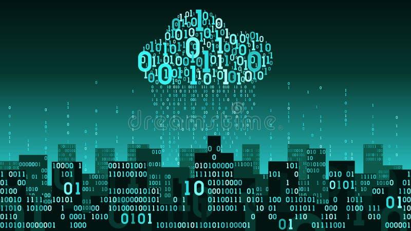 De abstracte futuristische slimme stad verbond met wolkenopslag van grote gegevens, binaire regen - gegevensstroom, het concept v vector illustratie