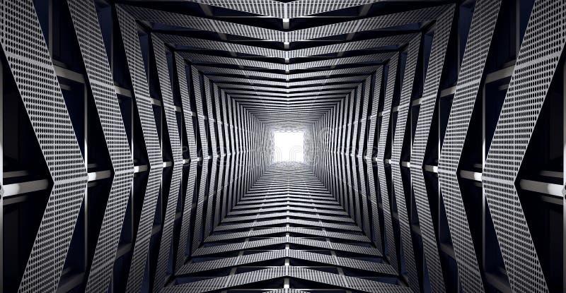De abstracte futuristische snelheidstunnel, modern geometrisch 3d concept geeft terug royalty-vrije illustratie