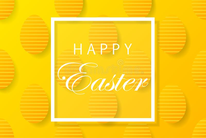 De abstracte gele achtergrond van Pasen met wit kader voor tekst Cre royalty-vrije illustratie