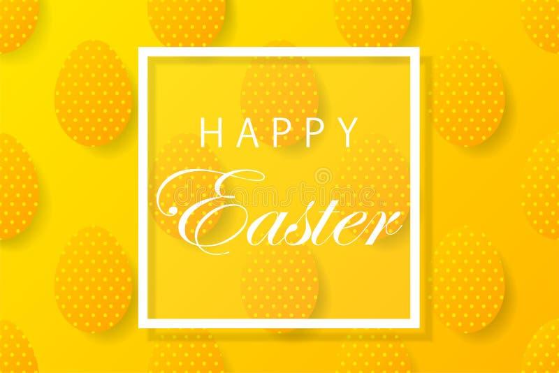 De abstracte gele achtergrond van Pasen met wit kader voor tekst Cre vector illustratie