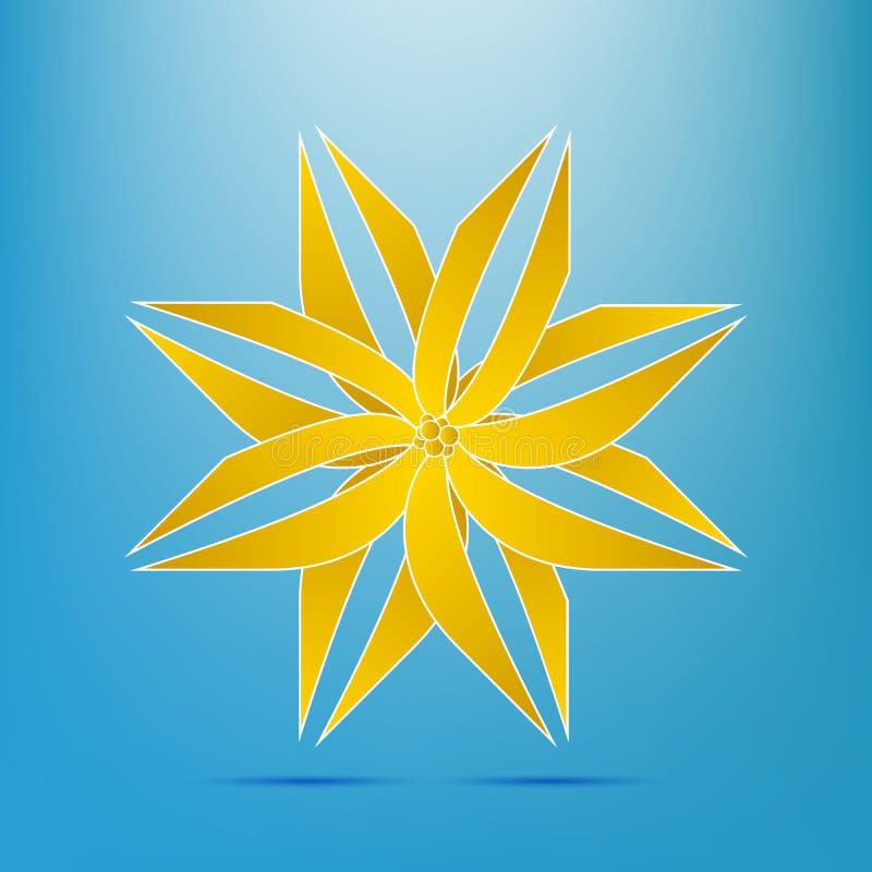 De abstracte gele gouden krommen van het het embleem elegante volume van het bloempictogram stock illustratie